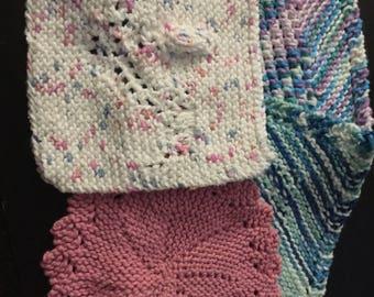 Four knit dishcloths