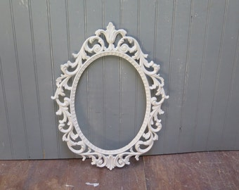 Ornate Oval Frame - Hollywood Regency -  painted White and lightly distressed No Glass