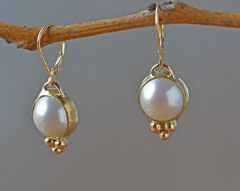 White Pearl Drop Earrings in Solid Gold, Elegant White Pearl Earrings, Freshwater Pearl Statement Earrings, Wedding, Bridal, Gift for Her