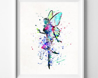 Fairy Print, Fairy Art, Fairy Poster, Fairy Watercolor Art, Bedroom Art, Giclee, Room Decor, Dorm Room Art, Baby Wall Decor, Valentines Day