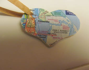 Florida, Titusville, JFK Space Center, Cape Canaveral Heart Ornament -- Atlas, Upcycled (Ref. No. 53)