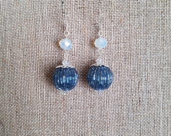 Blue Beaded Bead Earrings