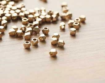 25 pcs of Geometric Polygon Matt gold Plated color Brass Jewelry Beads - 5mm