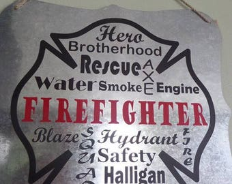 Thin Red Line Firefighter Subway Art Sign