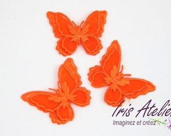 1 embroidered organza Wings Butterfly double orange individually