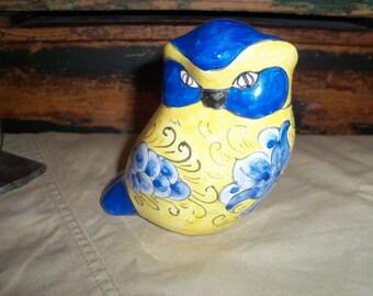 Vibrant Yellow and Blue Ceramic Owl
