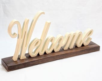 WELCOME Sign - Farmhouse Decor - Wooden Word Sign - Entryway Sign - Rustic Sign - Mantel Decor - Wood Sign - Home Decor