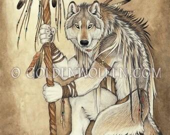Native Anthro Wolf Shaman Print