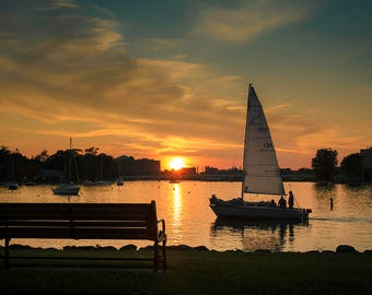 Neenah Harbor, Sunset Photography, Fine Art Photograph, Large Wall Art Print, Home Decor, Sailboat, Sailing, Fox Cities Wisconsin