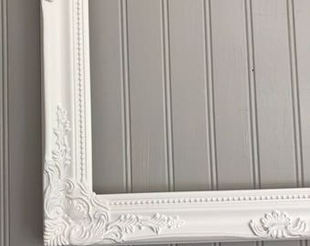 White Open Frame, Shabby Chic White Frame, Wedding Picture Frame, Wall Hanging Frame, Photo Prop, Baroque Ornate Frame, White Frame