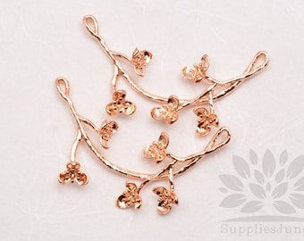 P642-GRG // Glossy Rose Gold Plated Flower Branch Connector, 1 pc