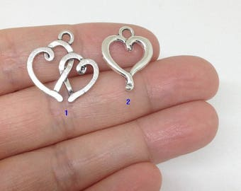 20pcs double Heart Charm, 2 Heart charm