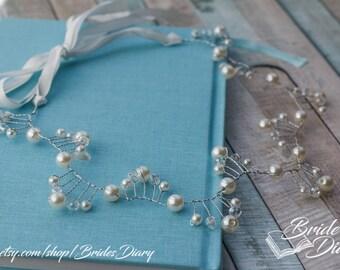 Pearls and Crystals Bridal Wreath, bohemian headband , wedding hair vine