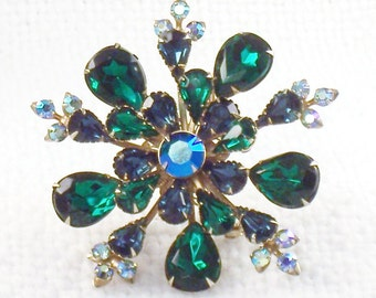 Vintage Large Green and Blue Rhinestone Brooch Big Vintage Bling Brooch Huge Green and Blue Stones Pin Mid Century Brooch Green Blue Pin