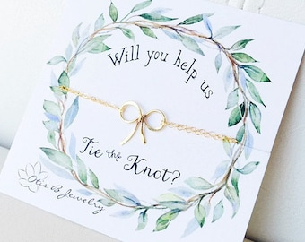Dainty Bow necklace, Bridesmaid gift, bridesmaid thank you card, Tie the knot necklace, Bridal jewelry, wedding jewelry, Bridesmaid necklace