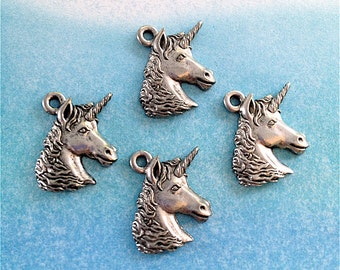 Unicorn Head Charms---4 pieces-(Antique Pewter Silver Finish)--style 833-Free combined shipping