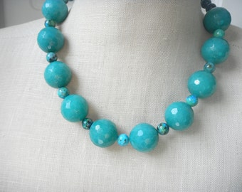 Teal Green Chunky Beaded necklace , Teal Blue Statement necklace