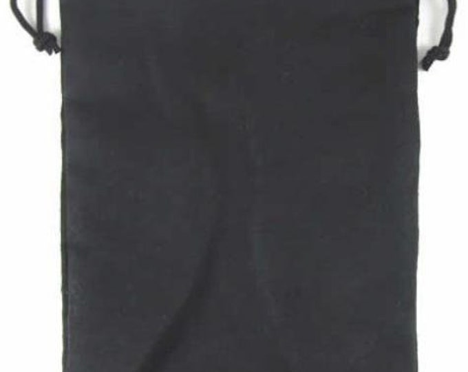 Dice Bags: Micro Suede Dice Bag - Black (6in x 9in)