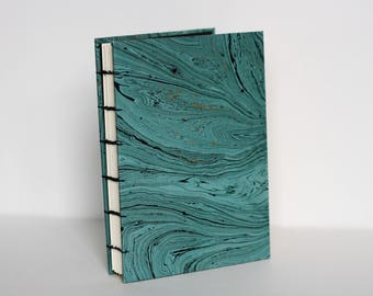 Helsinki Coptic Book - Blue with Black & Gold-foiled Marbling Handbound Coptic Stitch Notebook
