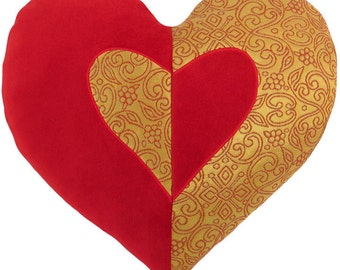 Red Velvet and Gold Brocade Heart Shaped Decorative Pillow - 14 x 16 inches