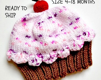 Cupcake Hat with Cherry on Top Milk Chocolate Brown Cake Cotton Candy Pink Frosting Sprinkles Age 4-18 month old child toddler Ready to Ship