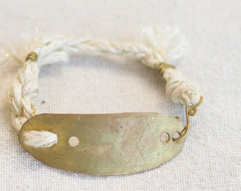 White Solar Braid Bracelet, Brass or Gold, Christmas Gift, Hand Hammered, Sculptural Jewelry, Laura Maresc