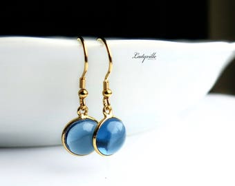 Earrings Sterling Gilded - Water Sapphire Iolite