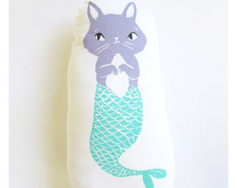 Cat Mermaid Shaped Animal Pillow. Purrmaid. Hand Woodblock printed. Choose any custom colors. Made to order.