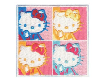 Hello Kitty Warhol Iron On Applique, Hello Kitty Patch, Warhol Patch, Hello Kitty Applique, Cute Patch, Kids Patch, Embroidered Patch