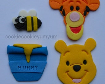 12 edible assorted WINNIE POOH theme baby shower christening cake cupcake topper decoration wedding anniversary birthday valentine cookie