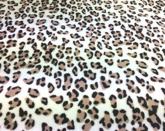 Super Soft Neutral Leopard Fleece Fabric - 58 Inches Wide