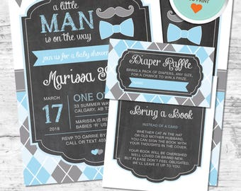Little Man Baby Shower Invitation, Mustache Invitation, Blue, Gray, Flags, Argyle, Chalkboard | DIY