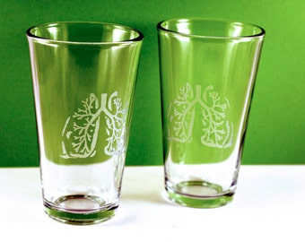 1 Anatomical Lungs Etched Pint Glass