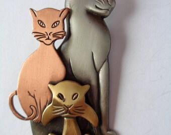 Vintage ondertekend K & T geassorteerde katten broche/Pin