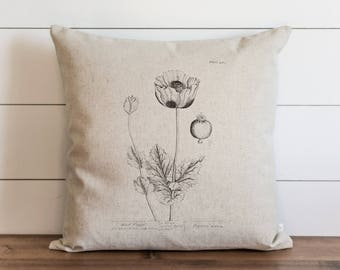 Poppy_one 20 x 20 Pillow Cover // Botanical // Floral // Throw Pillow // Cushion Cover // Gift for Her