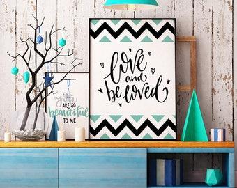 Love and be Loved - INSTANT DOWNLOAD - Illustration Art, Green, Printable Art, Quote, Illustration Artwork, Digital Art, Geometric, Vintage