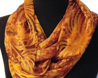 Rust Orange Burnout Silk Scarf//Large//Floral//Original//Gift for Her//Autumn//Fall//Thanksgiving