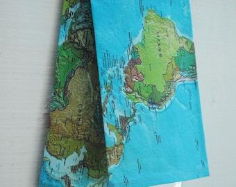 CADEAUX de fête des mère, torchon en lin - carte du monde Vintage, fait sur commande
