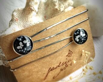 Glittering butterfly hair clips, black hair clip, hair accessories, pearl hair clip, special gift