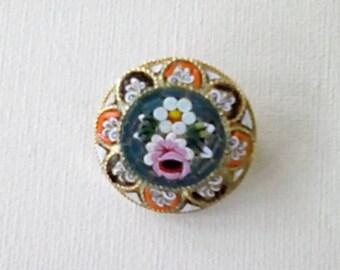 Vintage Italian Micro Mosaic Brooch Floral Brooch