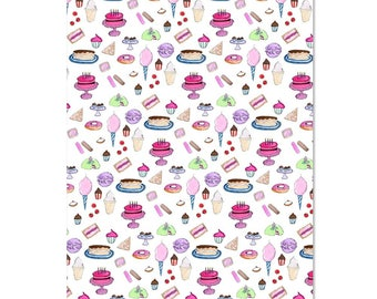 Birthday Wrap//Wrapping Paper//Birthday Party Wrap//Sweet Treats//Birthday Treats//Gift Wrap//Wrapping Gifts//Illustrated Wrapping Paper