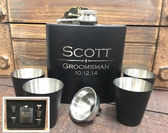 Groomsmen Gift, Personalized Flask, Hip Flask, Groomsmen Flask, Engraved Flask, Monogram Flask, Custom Flask, Will You be my Groomsman