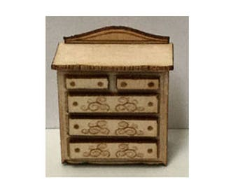 Quarter Inch Scale Renaissance Chest of Drawers Dollhouse Furniture Kit.