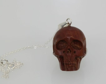 Wood Carved Skull on Sterling Silver Chain