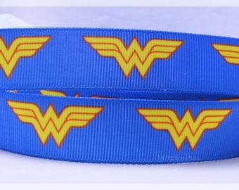 """Wonder Woman Comic Book Super Hero Inspired Printed Grosgrain Ribbon 7/8"""" Wide ww010418"""