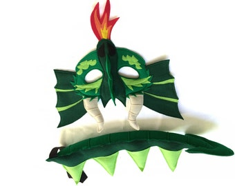 DRAGON Felt Animal Mask and Tail Set for Children