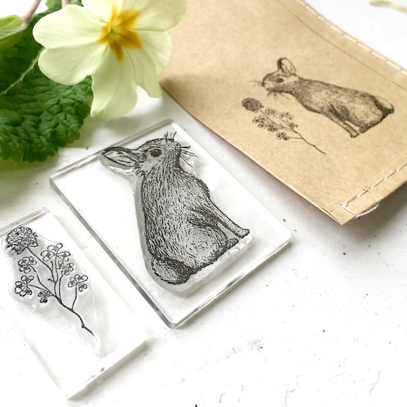 Rabbit Clear Rubber Stamp - Clover Clear Rubber Stamp - Rabbit and Clover Stamp Set - Rabbit and Clover Stamps - Little Stamp Store