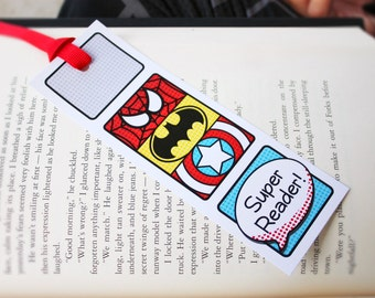 Superhero Collection. Super Reader Bookmarks. PERSONALiZED. DiY Printable Design. Pinkadot Shop