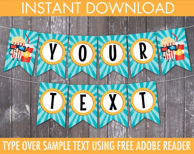 Movie Party Banner, Movie Birthday, Party Decorations - Bunting - Pennant | Editable DIY Instant Download PDF Printable