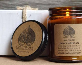 Opal Grove 9oz. pear+white tea soy candle
